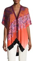 Etro Stampa Embroidered-Trim V-Neck Poncho Cardigan, Orange/Purple
