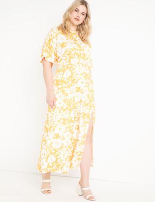 ELOQUII Dolman Sleeve Maxi Dress with Slit