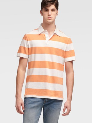 DKNY Men's Rugby Stripe Polo - Coral - Size XS