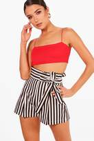 boohoo Tabitha Striped High Waisted Tie Belt Shorts