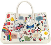 Anya Hindmarch Ebury Maxi All Over Wink Sticker Shopper Tote Bag, Chalk