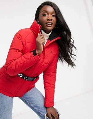 Calvin Klein Jeans belted waist padded jacket in red