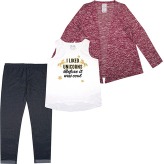 Aeropostale p.s. from Girls' Leggings RED - White 'I Liked Unicorns Before It Was Cool' Racerback Tank Set - Girls
