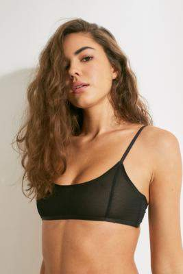 Out From Under Power Mesh Micro Cropped Bralette - black S at Urban Outfitters