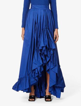 Max Mara Elegante Abadan frilled-trim woven midi skirt