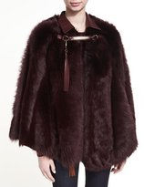 Ralph Lauren Lamb Shearling Fur & Leather Poncho