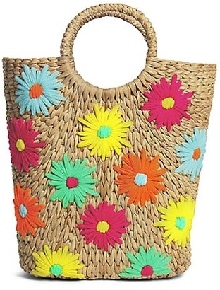 Poolside Susan Floral-Embroidered Basket Bucket Tote