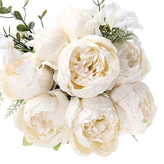 Uworld Artificial Flowers Silk Plastic Fake Peony Flower Vintage Peonies Bouquet DIY Wreath for Home Wedding Centerpieces Décor (Ivory)