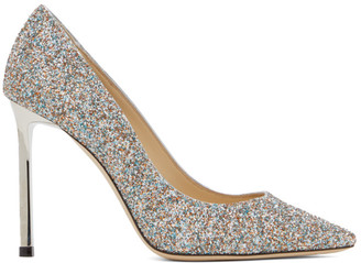 Jimmy Choo Silver Glitter Romy 100 Heels
