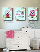 MuralMax - Floral Mums Nursery Owl Canvas Theme - Always Kiss Me Goodnight Quote - Set of 3 - Size -10 x 12