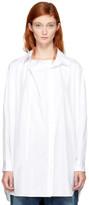 Y's White O-Front Drape Shirt