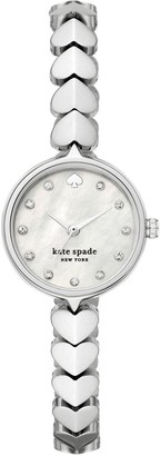 Kate Spade Mother of Pearl Mini Dial Silver Heart Stainless Steel Bracelet Ladies Watch