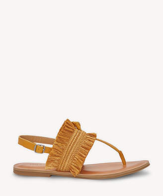 Lucky Brand Women's Akereli Flat Sandals Saffron Size 5 Leather Rafia From Sole Society