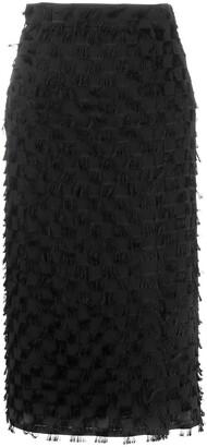 MSGM Fringed Mid-Length Skirt