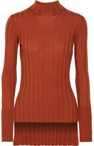 Theory Ribbed Merino Wool Turtleneck Sweater - Orange