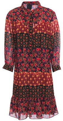 Anna Sui Ruffled Printed Georgette Shirt Dress