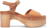 Sandro Audry embroidered leather clogs