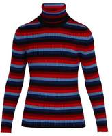 3 Moncler Grenoble - Intarsia Striped Roll Neck Wool Blend Sweater - Mens - Red Stripe