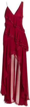 Alice + Olivia Mariana Silk High-Low Ruffle Dress