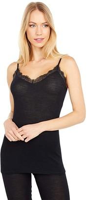 Hanro Woolen Lace Spaghetti Camisole (Black) Women's Pajama