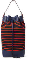 Loewe Leather-Trimmed Striped Canvas Tote Bag