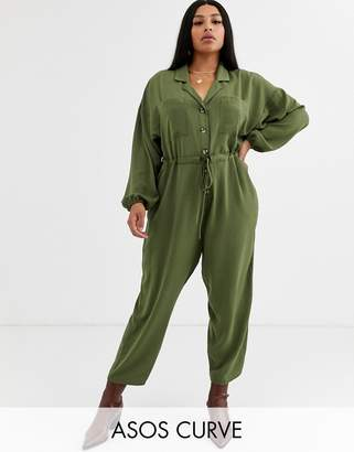 Asos DESIGN Curve slouchy button front utility jumpsuit-Green