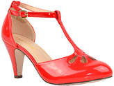 Red Patent Cutout T-Strap Kimmy Pump