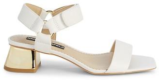 Karl Lagerfeld Paris Morico Leather Block-Heel Sandals