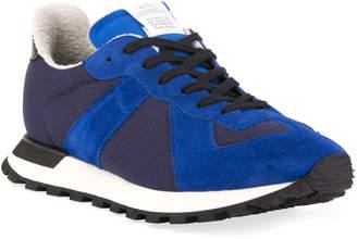 Maison Margiela Men's Replica Nylon & Suede Runner Sneakers, Blue