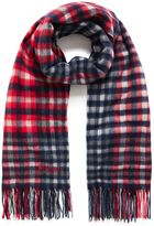 Mulberry Large Check Lambswool Scarf Red Lambswool