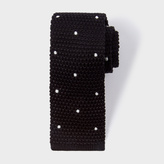 Paul Smith Men's Black Embroidered Dot Knitted Tie