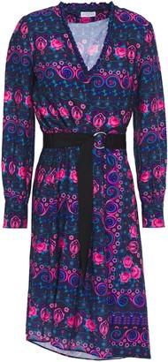 Claudie Pierlot Asymmetric Belted Floral-print Crepe De Chine Dress