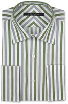 Sean John Big and Tall Green and Grey Stripe French Cuff Shirt