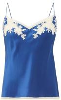 Carine Gilson Lace-trimmed Silk-satin Camisole - Womens - Blue Multi