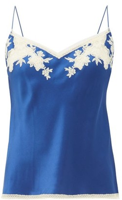 Carine Gilson Lace-trimmed Silk-satin Cami Top - Womens - Blue Multi