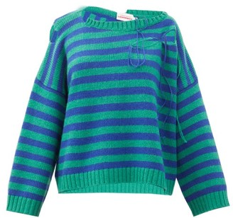 Charles Jeffrey Loverboy Slash-effect Striped Wool-blend Sweater - Green Print