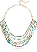 """Nine West Rose Gold-Tone and Coral 16"""" Multirow Strand Necklace, 16"""" + 3"""" Extender"""