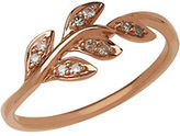Lord & Taylor 14K Rose Gold Diamond Leaf Ring