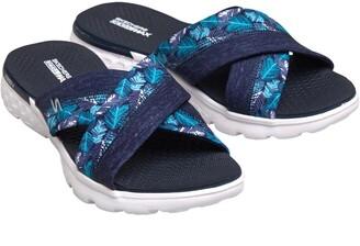 Skechers Womens On The GO 400 Tropical Cross Band Slide Sandals Navy