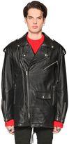 Diesel Black Gold Oversized Grained Leather Biker Jacket