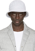 Moncler Gamme Bleu White and Grey Seersucker Bucket Hat