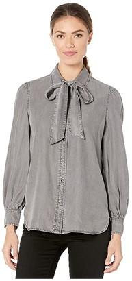 Lauren Ralph Lauren Necktie Buttoned Blouse (Slate Grey Wash) Women's Blouse