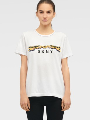 DKNY Women's Taxi Line Logo Tee - White - Size XS