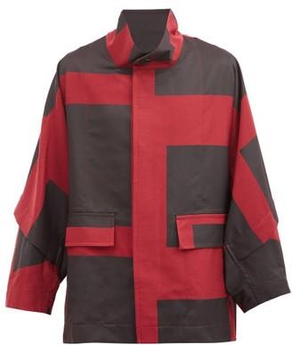 Issey Miyake Geometric-panel Twill Overcoat - Red
