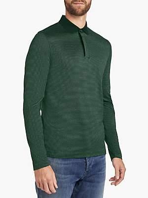 HUGO BOSS BOSS Pleins 12 Micropattern Slim Fit Long Sleeve Polo Shirt, Open Green