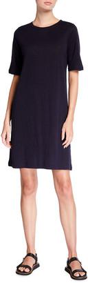 Eileen Fisher Organic Linen Jersey Short-Sleeve Shift Dress