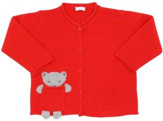 Il Gufo Bear Virgin Wool Jacquard Knit Cardigan