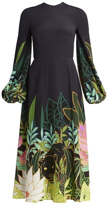 Valentino Panther Jungle-Print Silk Flare Dress