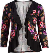 Glam Black Floral Ruffle Open Cardigan - Plus