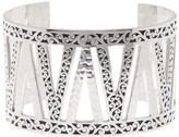 Lois Hill Sterling Silver Large Hand Carved Scroll Cuff
